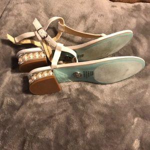 Betsey Johnson Pearl Heel White Satin Sandal 8.5